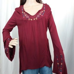 Ny Collection Knit Bell Sleeve Embroidered Top